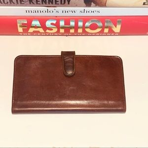 Vintage Coach Brown Leather Checkbook Wallet